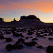 Stock Photo: Monument Valley National Park after sunset, Utah-Arizona, USA