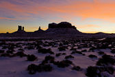 Monument Valley National Park after sunset, Utah-Arizona, USA — Stock Photo