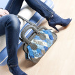 Blue shoes and with handbag - Stock Photo