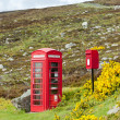 Stock Photo: Telephone booth and letter box