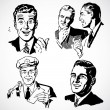 Vector Vintage Men Talking and Pointing — ストック写真
