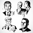 Foto Stock: Vector Vintage Men Talking and Pointing