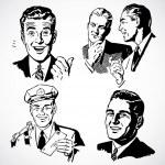 uomini d'epoca Vector parlando e che punta — Foto Stock