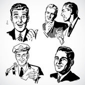 Vector Vintage Men Talking and Pointing — Stockfoto