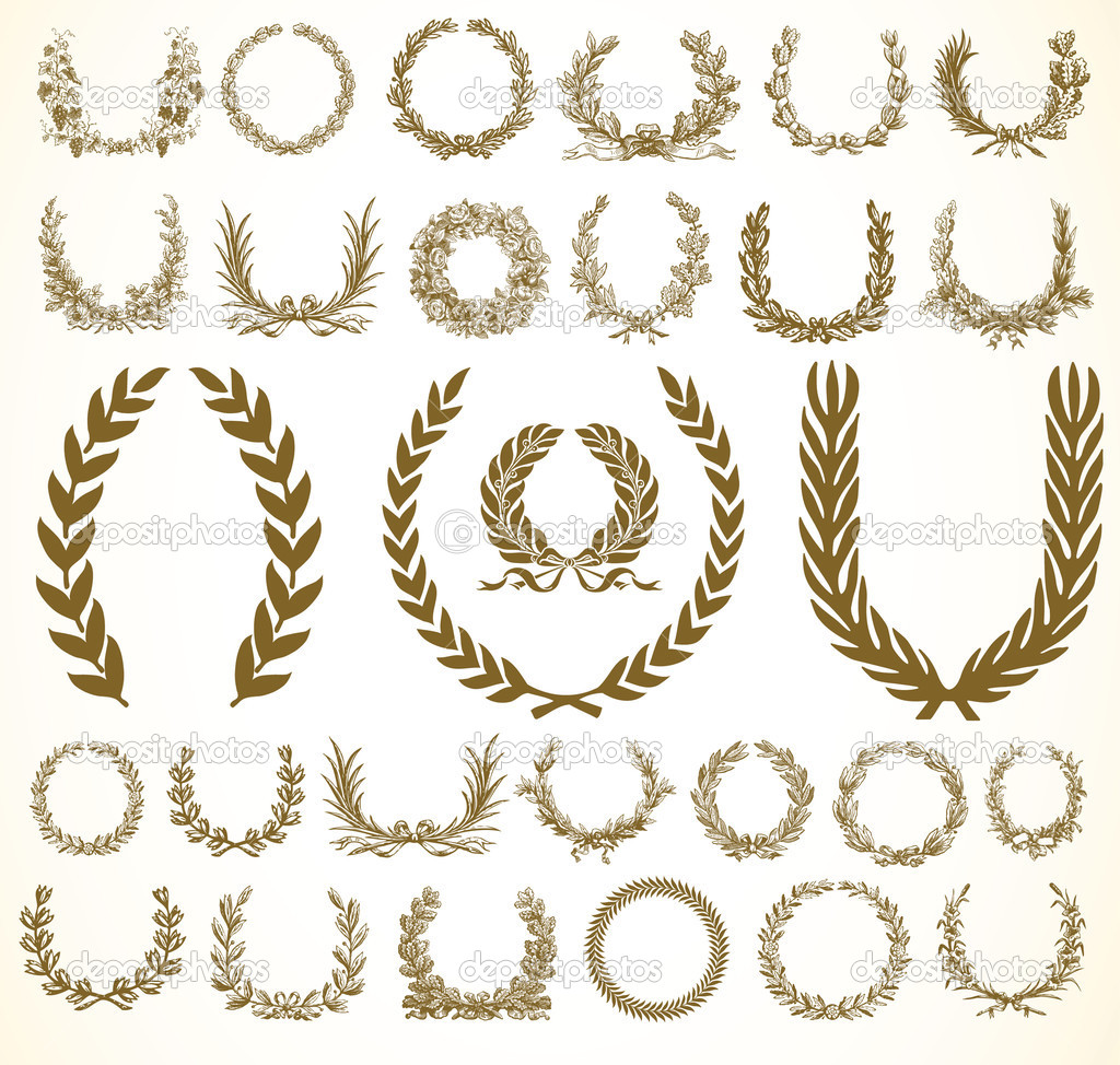 Set of vector wreaths and ornaments. Easy to edit.  Stock Photo #3480781
