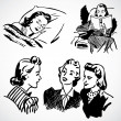 Stock Photo: Vector Vintage Women at Home