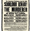 Vector Vintage Abraham Lincoln Reward Poster — Foto Stock