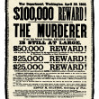 Vector Vintage Abraham Lincoln Reward Poster — Foto de Stock
