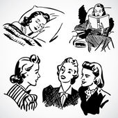 Vector Vintage Women at Home — Stock Photo