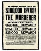 Vector Vintage Abraham Lincoln Reward Poster — Stock Photo