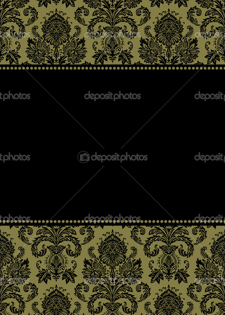 Vector damask frame. Easy to scale and edit. Pattern is included as seamless swatch — Stock Photo #3501243