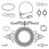 Vector Swirl Ornament and Frame Set — Stock Photo