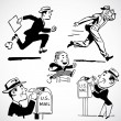 Vector Vintage Running Businessmen — Stock Photo