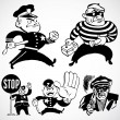 Vector Vintage Cops and Robbers — Stock Photo
