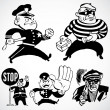 Vector Vintage Cops and Robbers - Stock Photo