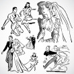 vector vintage noivas e noivos — Fotografia Stock  #3521756