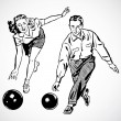 Vector Vintage Bowling Couple - Stock Photo