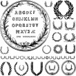 Vector Wreaths and Greek Letters — Stok fotoğraf