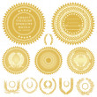 Stock Photo: Vector Gold Seals and Wreaths
