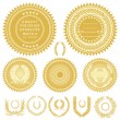 Vector Gold Seals and Wreaths - Stock Photo