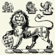 Vector Gothic Lions — Stock Photo