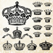 Stock Photo: Vector Crown Set