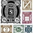 Vector Retro Hand Drawn Stamps - Foto Stock