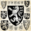 Vector Set of Medieval Crests and Shields — Stock Photo
