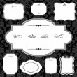 Vector Damask Pattern and Frame Set - Stock Photo