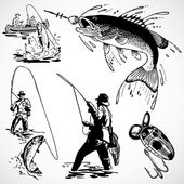 Vector Vintage Fishing Graphics — Foto Stock