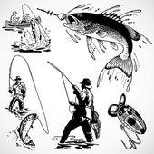 Pêche vintage graphiques vectoriels — Photo