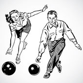 Vector Vintage Bowling Couple — Stock Photo