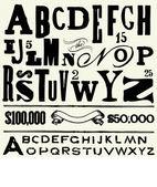старый тип vector и алфавит — Стоковое фото