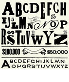 Vektör yaşlı türü ve alfabe — Stok fotoğraf