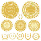Vector Gold Seals and Wreaths — Stock Photo