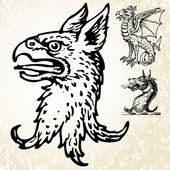 Vector Mythical Animal Heads — Stock Photo