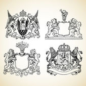 Vector Medieval Animal Crests — Stock Photo