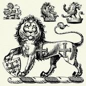 Vector Gothic Lions — Stock Photo