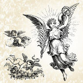 Vector Angels and Background — Stock Photo