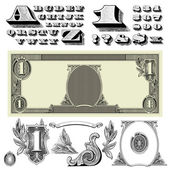 Vector Money Ornaments and Letters — Stock Photo
