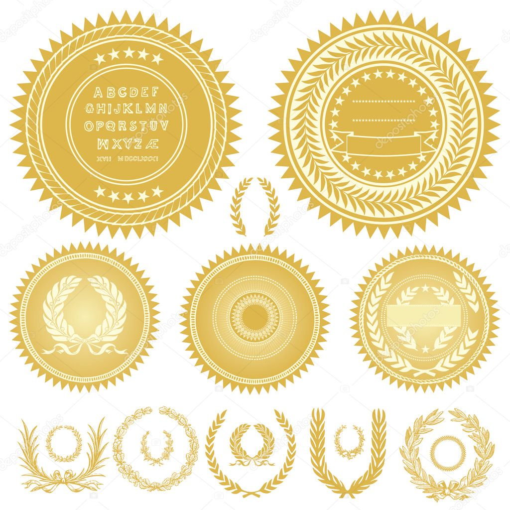Set of gold medals or seals. All pieces are separate and easy to edit. — Stock Photo #3527022