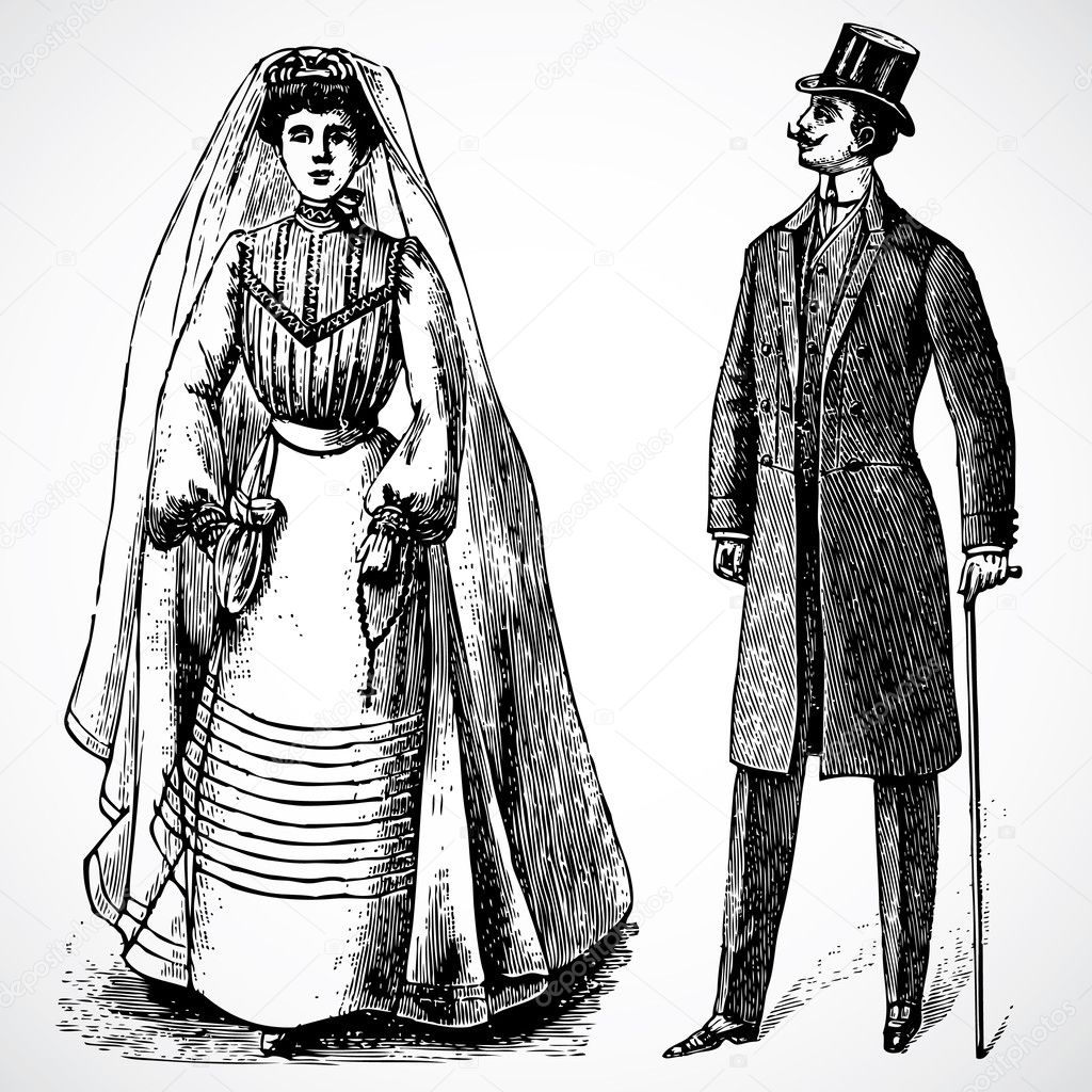 Vintage vector advertising illustration of a bride and groom.  Foto Stock #3527031