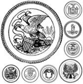 Conjunto de selos antigos de vetor — Fotografia Stock
