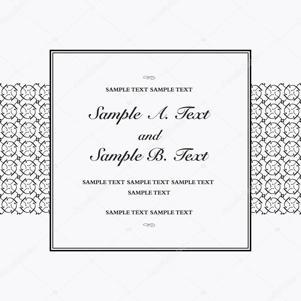 Vector square frame with sample text. Perfect as invitation or announcement. All pieces are separate. Easy to change colors. — Stock Photo #3612334