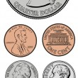 Stock Photo: Vector Quarter Dime Nickel and Penny