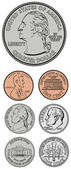 Vector Quarter Dime Nickel and Penny — Stock Photo