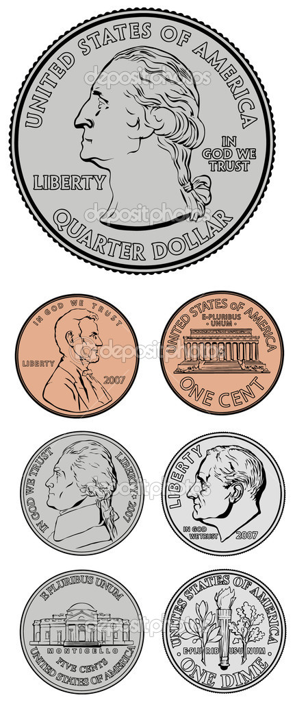 Set of vector coins. All pieces are separate and easy to edit. — Stock Photo #3640572