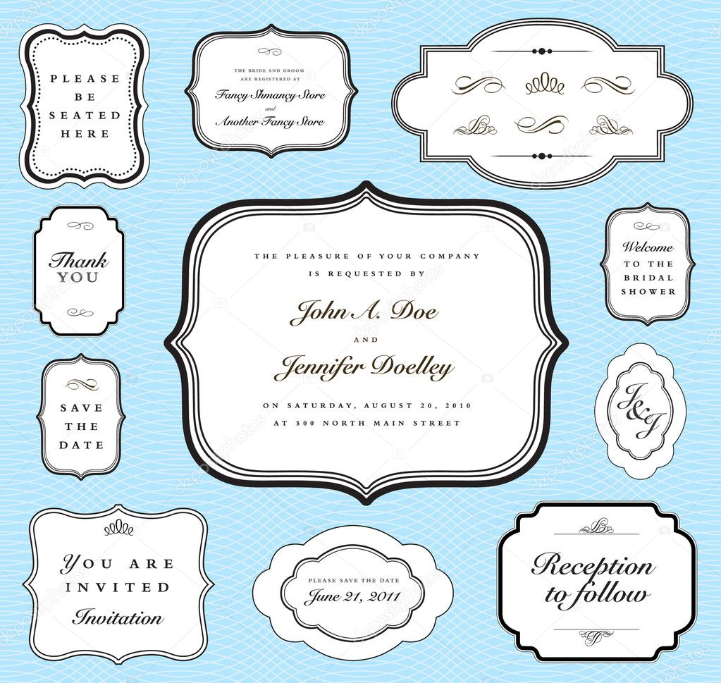 Vector ornate frame set and background pattern. Perfect for invitations and ornate backgrounds.  Pattern is included as seamless swatch.  — Stock Photo #3659414