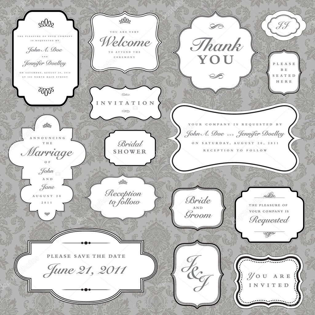 Vector ornate frame set and background pattern. Perfect for invitations and ornate backgrounds.  Pattern is included as seamless swatch.  — Stock Photo #3670335