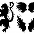 Vector Gothic Lion and Wings — Stock Photo